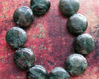 Green Kyanite Coin Bead Set - 10 pieces - 10mm Coins
