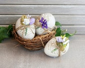 Easter Basket Decor, Decorated Floral Eggs, Spring Home Decor