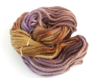 Handdyed chunky wool, brown purple bulky merino chainette yarn, knitting crochet Perran Yarns Copper Plum skein hank, free knitting pattern
