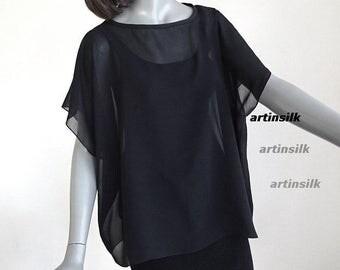 Black Silk Chiffon Top, Sheer Coverup Tunic, Party black Poncho, Evening Formal Blouse, Small Medium Plus Size, Artinsilk.