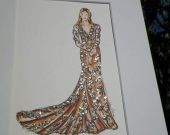 Gold Gown Woman Watercolor Fashion Dress Art Original Painting Wedding Bridal Bridesmaid by Artist Debra Alouise