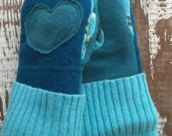 SALE- Upcycled Felted Wool Mittens- Garden Blooms in Teal-Teal Mittens-Heart Mittens