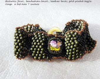Bumpy Green and Black Peyote Bracelet with Fused Dichroic Focal