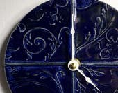 Victorian Garden patterned Ceramic Wall Clock in Navy Blue