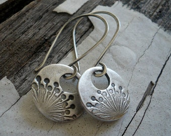 Wishful Earrings- Oxidized fine silver. Dangle earrings.Handmade