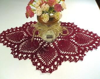 Pineapple Burgandy Oblong Crochet Doily