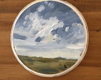 small landscape original painting on wood clouds cloud painting