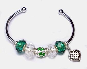 Irish Shamrock Bangle with Celtic Knot Heart Dangle Charm St. Patrick's Day