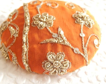 Rust beaded embroidered  fabric covered button, size 100 button, 2.5 inches, 6.35 cm, 63.5mm