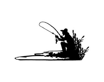 FISHERMAN SILHOUETTE Unmounted fishing rubber stamp, men, masculine, Father's Day, Sweet Grass Stamps No.14