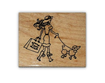Paris Shopper, lady with poodle mounted rubber stamp, French, woman shopping, Sweet Grass Stamps #22