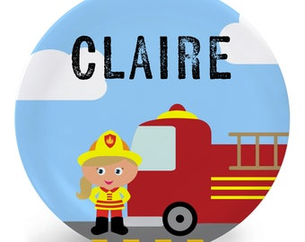 Firefighter Girl Plate - Child's Plate - Child's Bowl - Girl 4 Melamine Bowl or Plate Personalized (Plastic) - Personalized Melamine Plate