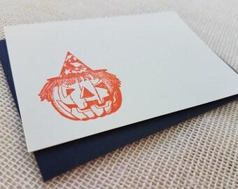 Letterpress Enclosure Card - Halloween Jack-O-Lantern