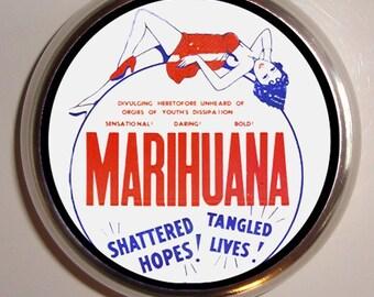 Marijuana Dope Reefer Stash Box Pillbox Pill Case Holder Trinket Box Vintage Graphics