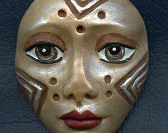 Polymer Clay One of a Kind  Spirit Doll  gray brown pearl  Detailed Face Cab Un Drilled SF 7