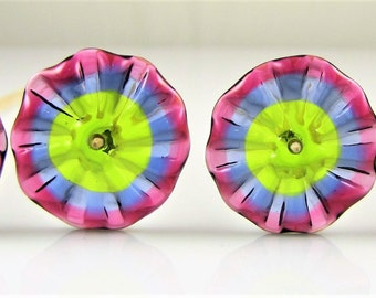 Colorful Transparent Pinched Glass Disc Beads