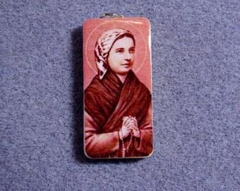 St. Bernadette Soubirous Lourdes Catholic Art Recycled Domino Pendant Necklace BS3