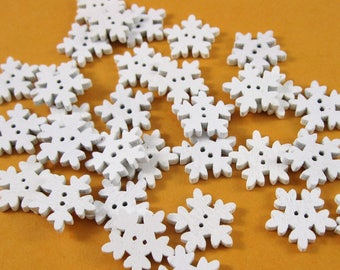 Snowflake Buttons, Lot of 30 - 2 Hole, 3/4 Inch Wooden Buttons in White