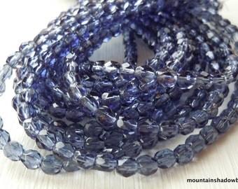 4mm Czech Beads - Montana Firepolished Faceted 50 pcs