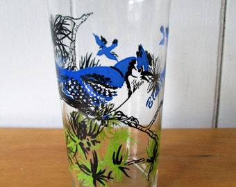 vintage Blue Jay glass