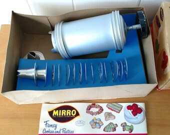 vintage Mirro cookie and pastry press complete