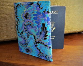 Passport Holder Credit Card Case Travel  Blues Purples Cotton Fabric Ready To Ship