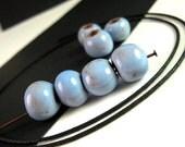 NEW 20 Haitian Light Blue Glazed Ceramic Beads, 10mm, FULL Strand, Responsibly Sourced, Large Hole, Caribbean Blue, Haiti Clay Beads PAP06