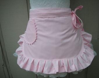 Womens Aprons / Pink Aprons /  Pink Half Aprons / Pink Ruffled Aprons / Handmade Pink Aprons / Annies Attic Aprons / Monogrammed Aprons