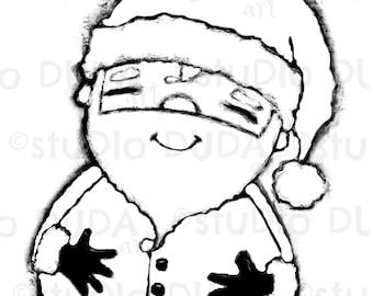 Happy Jolly Merry Santa Digital Stamp - Printable - Art to Color by STUDIODUDAART