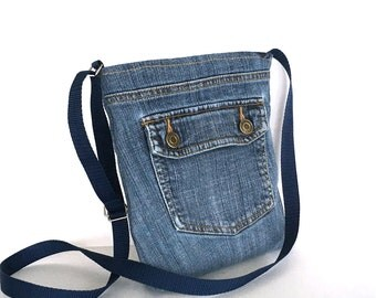 Small crossbody bag, Recycled denim purse,Blue jean purse, Small side bag ,Recycled cross over purse,Denim purse ,Cross body bag, Denim bag