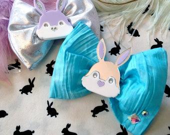 Easter Laser Cut Acrylic Bunny Rabbit Head Aqua and Silver Sparkle Hair Bows