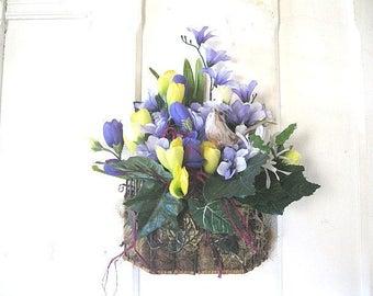 ELSBETH  hanging  floral  WaLL or Table silk flower   Basket  WREATH alternative