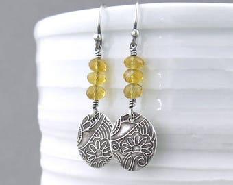 Golden Citrine Earrings Yellow Earrings Silver Everyday Jewelry Small Gemstone Earrings Handmade Birthstone Jewelry - Tracey