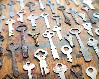 Antique Flat Key Lot - Instant Collection - 50 Padlock Keys // New Year Sale - 15% OFF - Coupon Code SAVE15