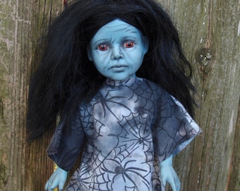 Blue Mountain Witch Doll By Ugly Shyla - Ugly Art Dolls  - Porcelain - Ooak - One Of A Kind - Horror art - Spiderweb - Halloween