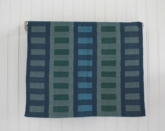 Blues and Greens 100% Cotton Handwoven Dish Towel