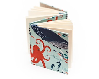 Teal and Orange Ocean Life Blank Book, Hardbound Book, Double Coptic Bound Book, Dos-a-Dos Journal
