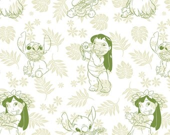 Hula Toile in Green Lilo and Stitch Disney Woven Cotton Fabric BTY