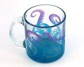 Octopus Tentacles Coffee Mug - Custom Etched and Painted Glassware - Made to Order