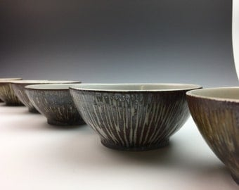 Handmade ceramic bowl - Carved Porcelain - Set of four bowls