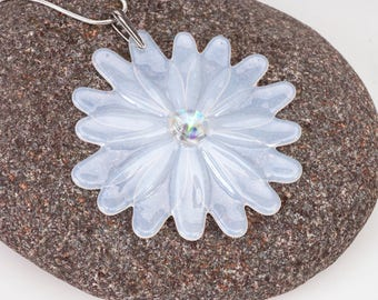 White translucent flower pendant, fused glass pendant, your choice of colors, flower ornament, pendant