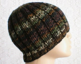 Ribbed beanie hat, olive forest green rust brown, striped hat, beanie hat, knit toque, biker runner hiker, ski snowboard, mens womens hat
