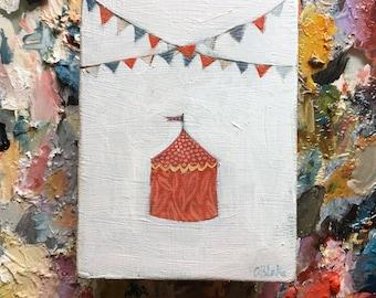 Tiny circus oil painting - original art
