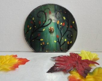 SALE,, Fairy Door, Stained Glass, Fall, Garden Sculpture, Outdoor Garden Art, Fae, Home Decor, Fairy Garden, Autumn, Terrarium Decor, Portal