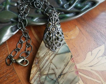 Canyon River Jasper and filigree necklace