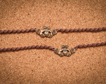 Brown and Gold Claddagh Tie-On Bracelets