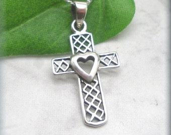 Heart Cross Necklace, Sterling Silver, Spiritual, Christian Jewelry, Mother, Gift, First Communion, Faith Necklace, Religious (SN979)