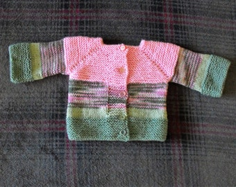 Pink and Green Baby Sweater Hand Knitted with All Acrylic Yarn has 24 inch bust with 5 buttons down front