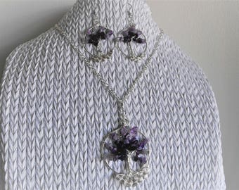 FREE Domestic Shipping - Amethyst Tree of Life Pendant, Earrings Set, Silver Frame, Lobster Clasp, 24 in Chain, Bridal, Christmas, Wedding