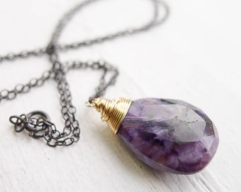 Charoite Necklace Purple Marbled Gemstone Pendant Mixed Metal Antiqued Silver and Gold Teardrop Necklaces